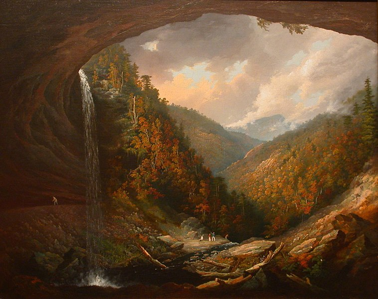 Ficheiro:Wall, William Guy -Cauterskill Falls on the Catskill Mountains, Taken from under the Cavern, 1826-27.jpg