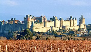 The walled city of Carcassonne, a major touris...