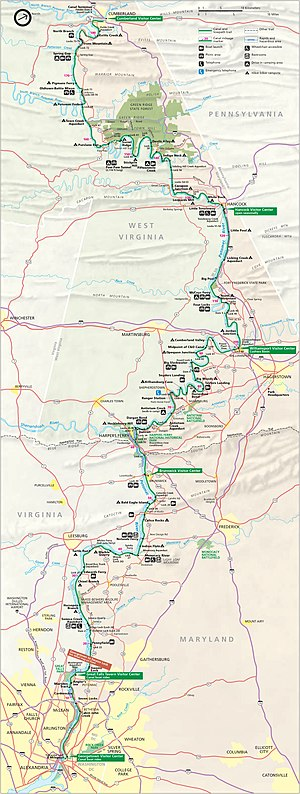 Map of the Chesapeake and Ohio Canal National ...