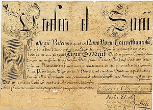 English: Elizur Goodrich's diploma for his Bac...