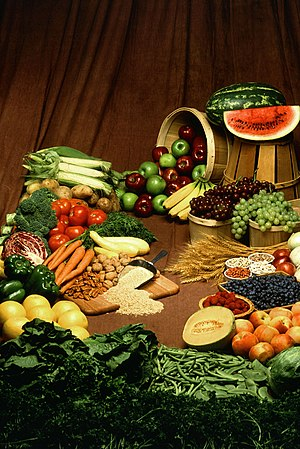 Various fruits, vegetables, nuts, and grains; ...