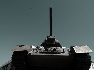 Front view of a T-34 tank.