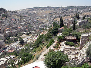 View of the Kidron Valley from the Old City of...