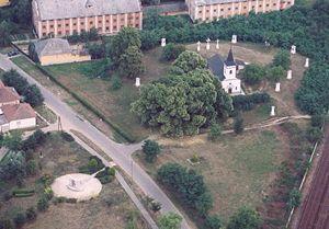calvaria chapel in Rakamaz, Hungary, aerialpho...