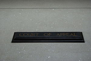 English: A sign indicating the Court of Appeal...