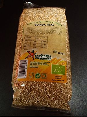 English: A 500g bag of quinoa