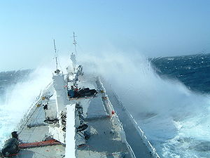 A ship's hull endures harsh conditions at sea,...