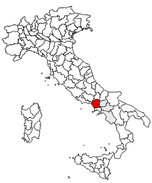 Locator map of the province of Caserta, in Italy.