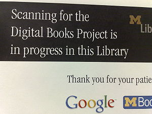 English: Google Digitization signs are all ove...