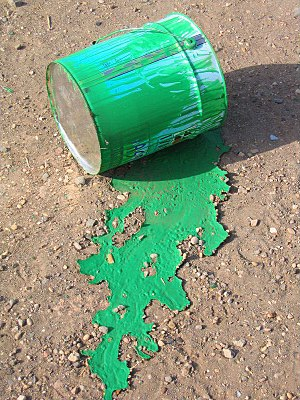Dried green paint