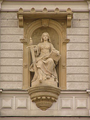 J. L. Urban, statue of Lady Justice at court b...