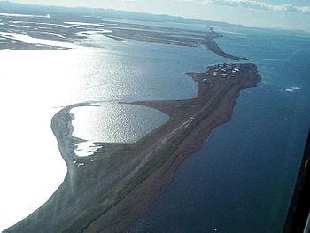 English: Aerial view of Kivalina, Alaska, USA....
