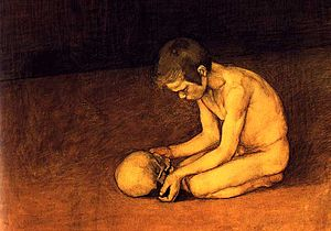 English: Boy with a scull; watercolor and char...