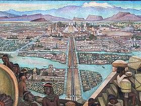 Tenochtitlan, fresque murale de Diego Rivera.