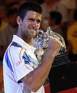 Djokovic with the Australian open trophy
