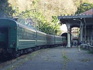 Abkhazian passenger train passing Psyrtskha stop