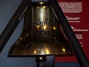 The bell from the SS Edmund Fitzgerald on disp...