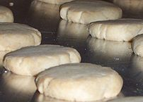 Shortbread rounds before being baked
