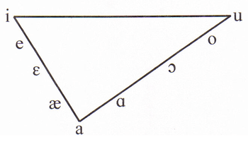 English: Vowel triangle, filled in with some E...