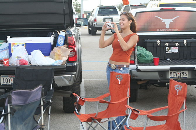 Woman at a tailgate party for a UT football game