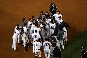 New York Yankees celebrate after 2009 American...
