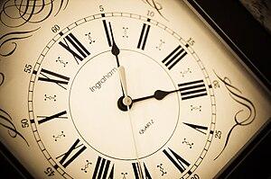 An antique clock face.
