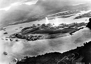 Ships and NAS Ford Island during the Pearl Har...