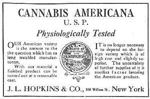 An advertisement for cannabis americana distri...