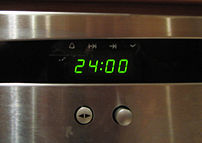 A rare example of a digital clock showing midn...
