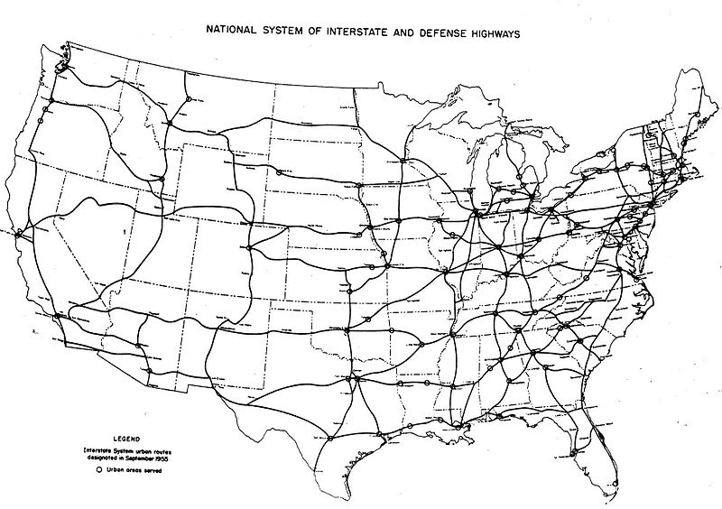 1955 Yellow Book plan for Interstate Highways