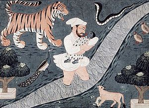 Vasudeva Carrying Krishna over the Yamuna River.