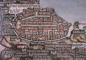 Mapa de Jerusalén encontrado en la iglesia de San Jorge de Madaba.