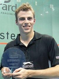 Nick Matthew holding his 2006 British Grand Pr...
