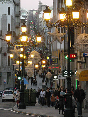 shopping street at Vigo, Spain