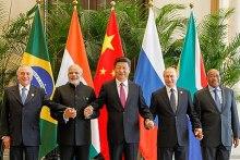 BRICS leaders in Hangzhou, China, 3 September 2016. Left to right: Temer, Modi, Xi, Putin and Zuma.