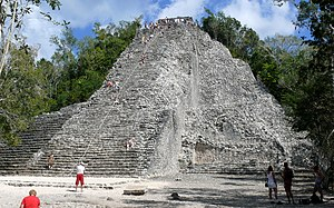 The Nohoch Mul pyramid stands 138 feet tall, a...