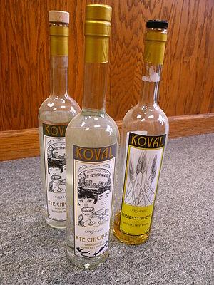 English: A few bottles of Koval distilled spir...