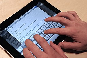English: iPad with on display keyboard