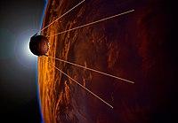 पृथ्वी की कक्षा मे स्पुतनिक (चित्रकार की कल्पना पर आधारित)