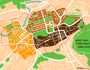 A map of the city centre of Edinburgh, Scotlan...