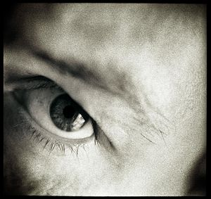 Macro close-up photograph self portrait of the...