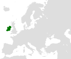 The island of Ireland highlighted on a blank m...