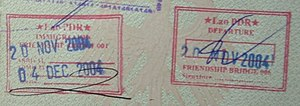 Example for a Visa Run (Laos). Entrance and de...