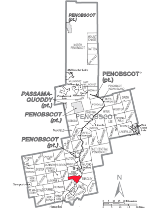 A map of Penobscot County showing Orono (town)...