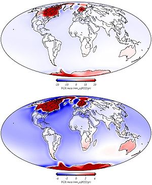 English: Modeled post-glacial rebound based on...