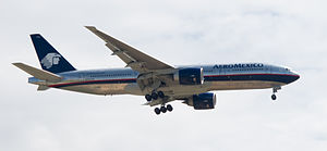 English: Boeing 777-2Q8/ER of AeroMexico. Espa...