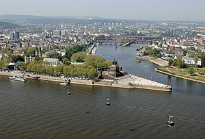 English: Deutsches Eck in Koblenz where the Mo...