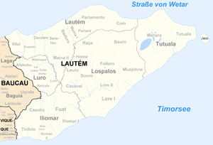 Map of district of Lautém showing Jaco