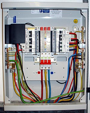 Photo of UK Electrical Distribution Board. Bus...