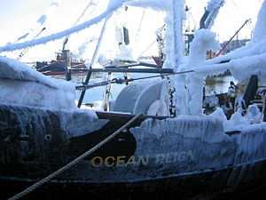 Black ice on fishing ship OCEAN REIGN. It's a ...